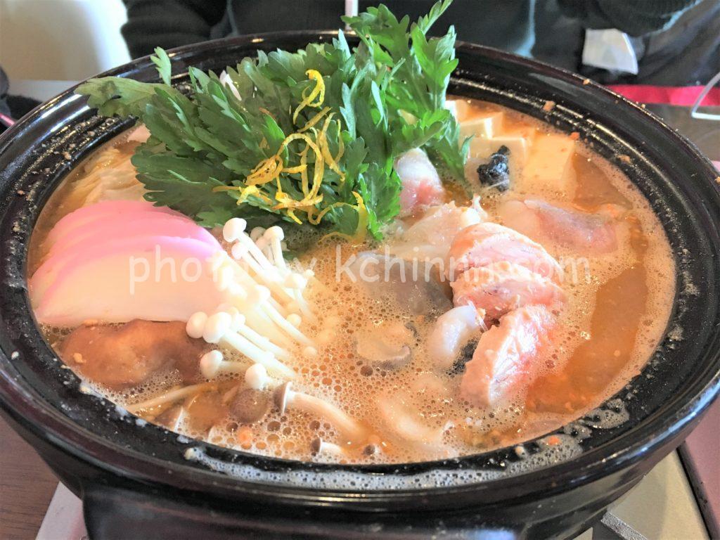 小名浜港近くでいただいたあんこう鍋はみそ仕立て